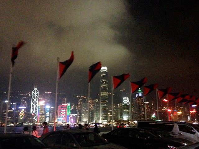 Hong Kong skyline from Marco Polo hotel German Bierfest rooftop in TST, Hong Kong on Halloween