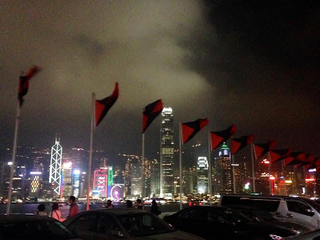 Hong Kong skyline from Marco Polo hotel German Bierfest rooftop in TST, Hong Kong on Halloween