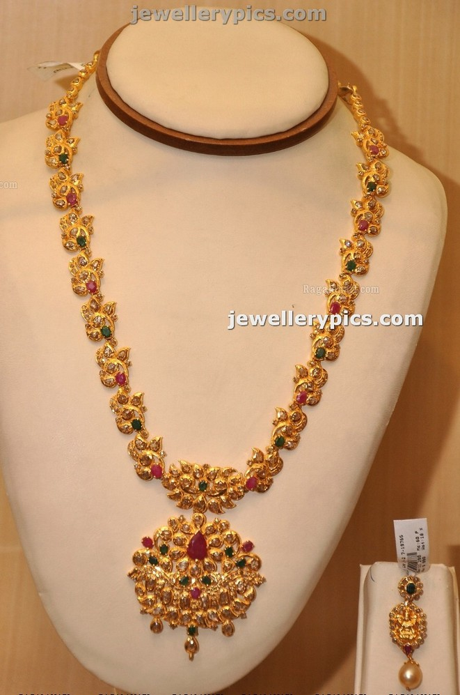 Manepalli Gold Haram design with stones - Latest Jewellery Designs