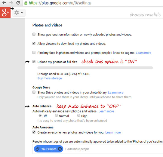 "Google + Settings ""Auto Enhance"""