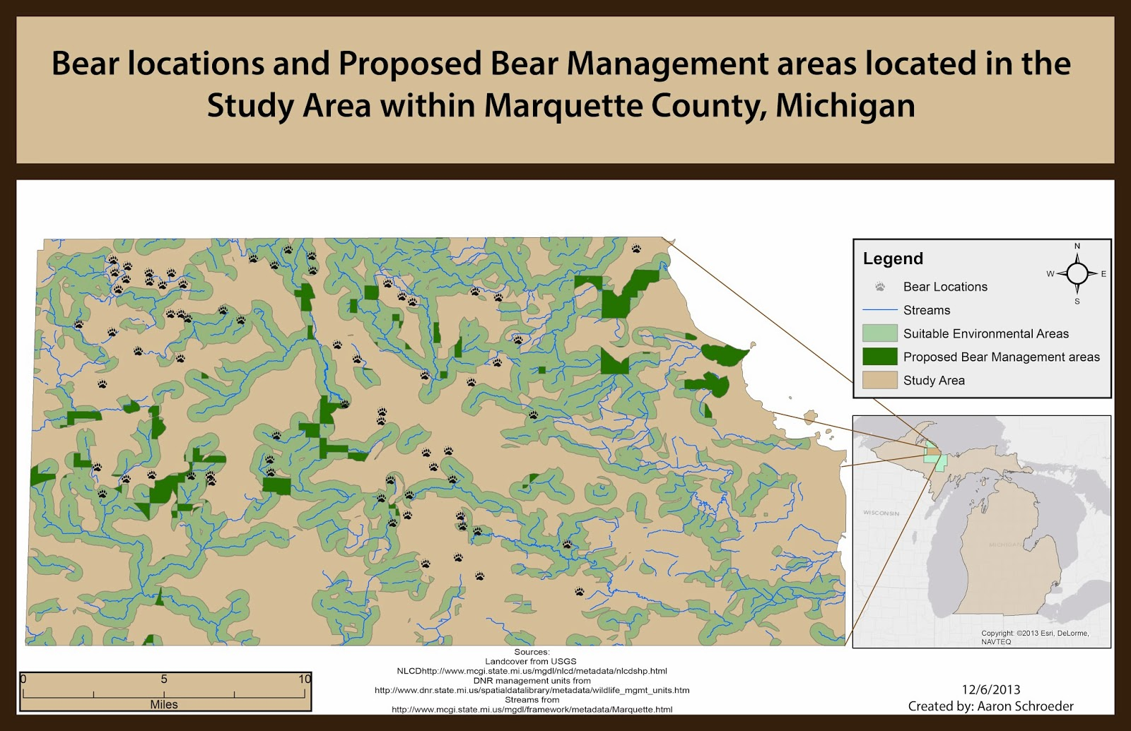 figure 1 possible bear management areas located in marquette county michigan