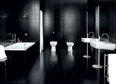 baño color blanco y negro