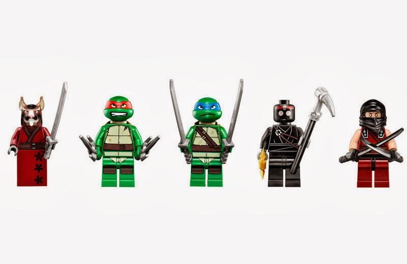 Incluye 5 minifiguras: Leonardo, Raphael, Maestro Splinter, Ninja Oscuro y un Soldado Foot.
