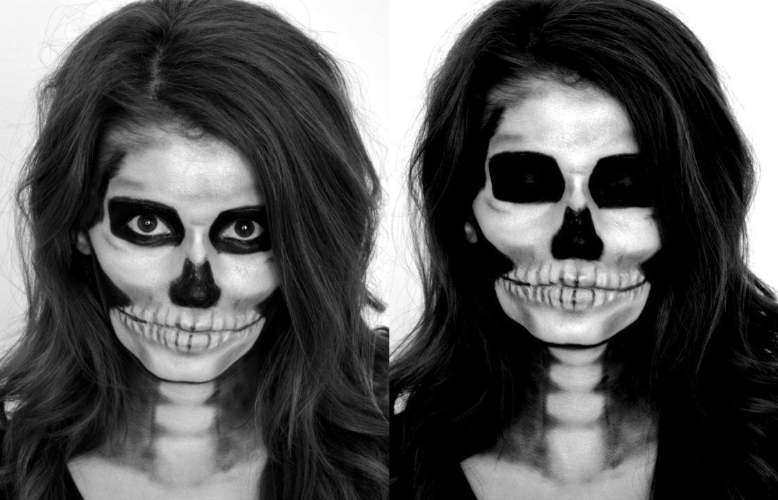 skeleton makeup eyes closed and open