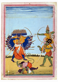 Rama and Hanuman Fighting Ravana