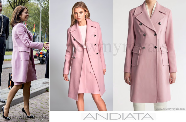 The Crown Princess wore ANDIATA Ceri Coat. This double breasted military inspired coat has large gun metal buttons. Team it with a matching LENE 55 skirt.