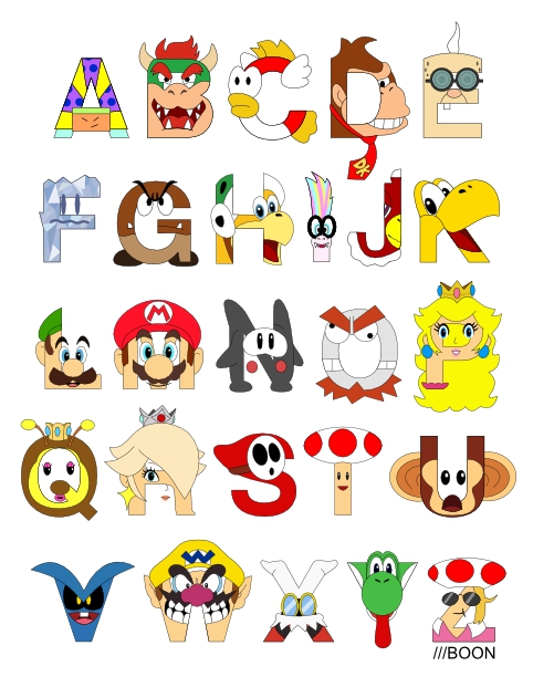 mike baboon design super mario alphabet With super mario letters