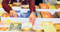 Fethullah Gulen&#39;s books are displayed in a book fair.