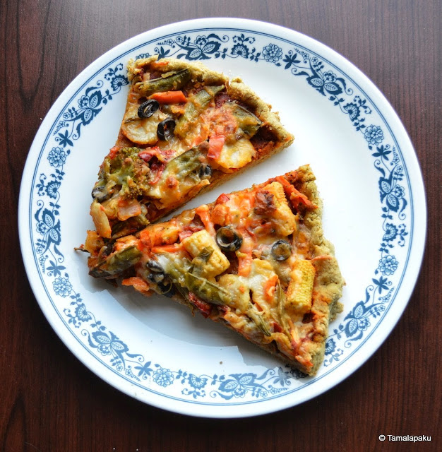 Stir Fry Vegetable Pizza with Oat Bran Crust