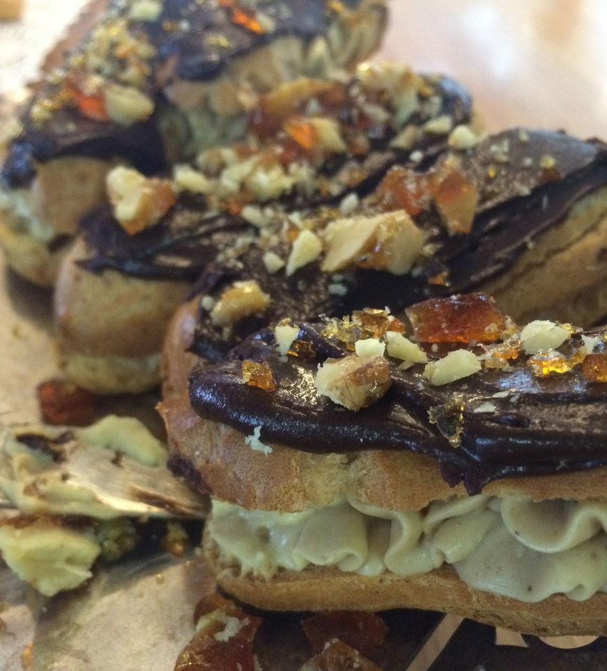 Eclairs-With-Coffee-Custard-Chocolate-Icing-And-Walnut-Praline