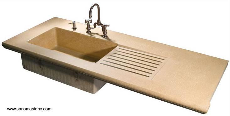 Arquitectura de casas: fregaderos de cocina de concreto