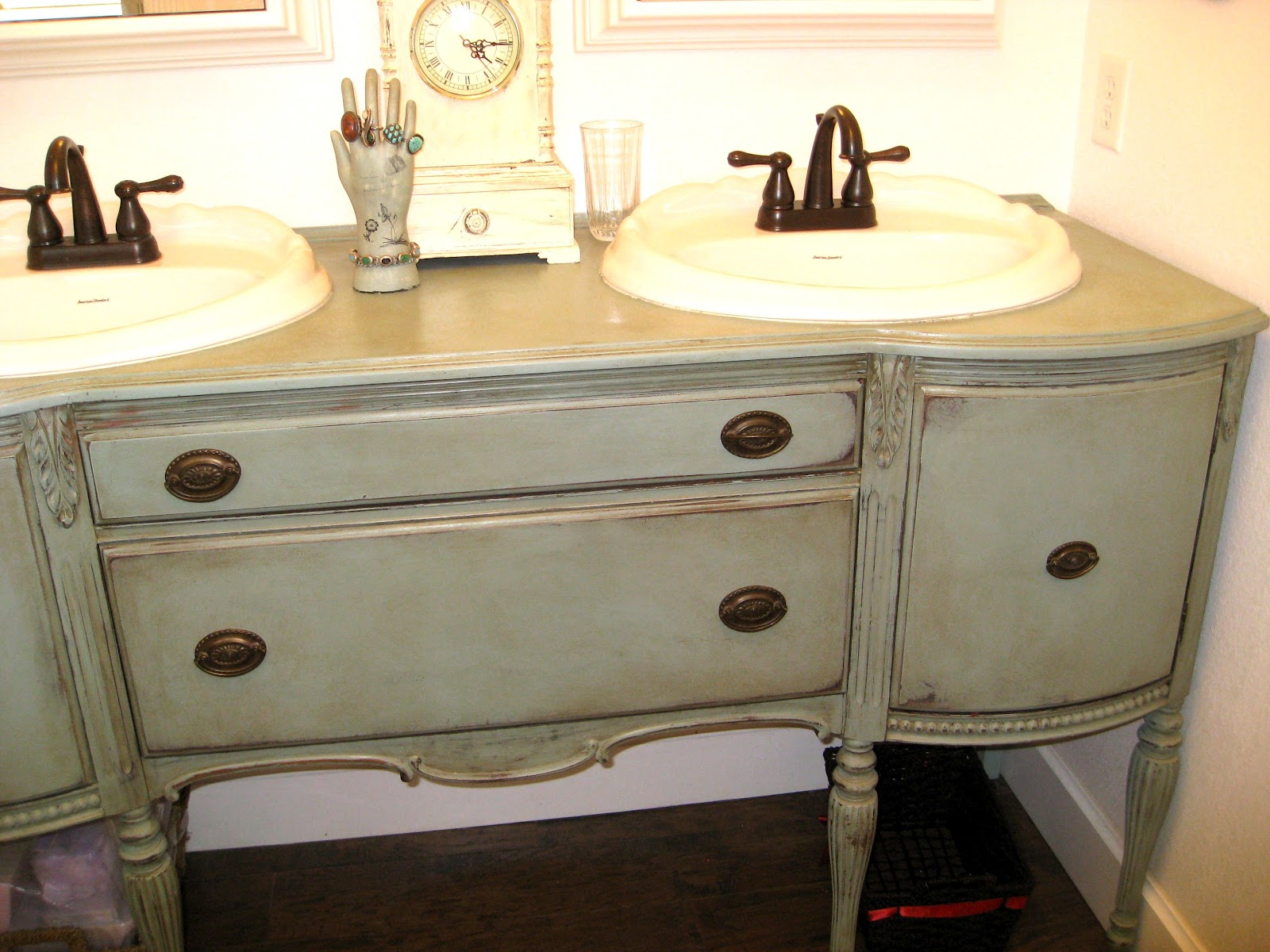 Awesome Finished Chalk Paint Bathroom Cabinets  At Home With Jen