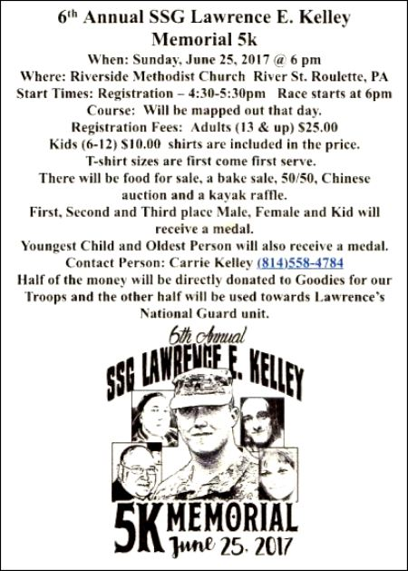 6-25 Lawrence E. Kelley 5K Memorial, Roulette, PA