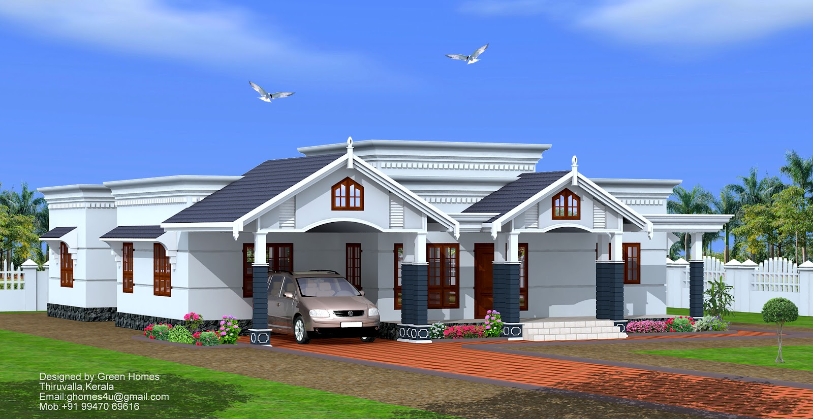 Bedroom single floor home design by green homes thiruvalla for Single floor house plans kerala style