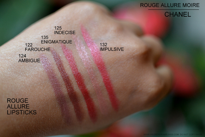 Chanel Rouge Allure Moire Makeup Collection Lipsticks Indian Darker Skin Beauty Blog Swatches 125 Indecise 135 Enigmatique 132 Impulsive 124 Ambigue 122 Farouche