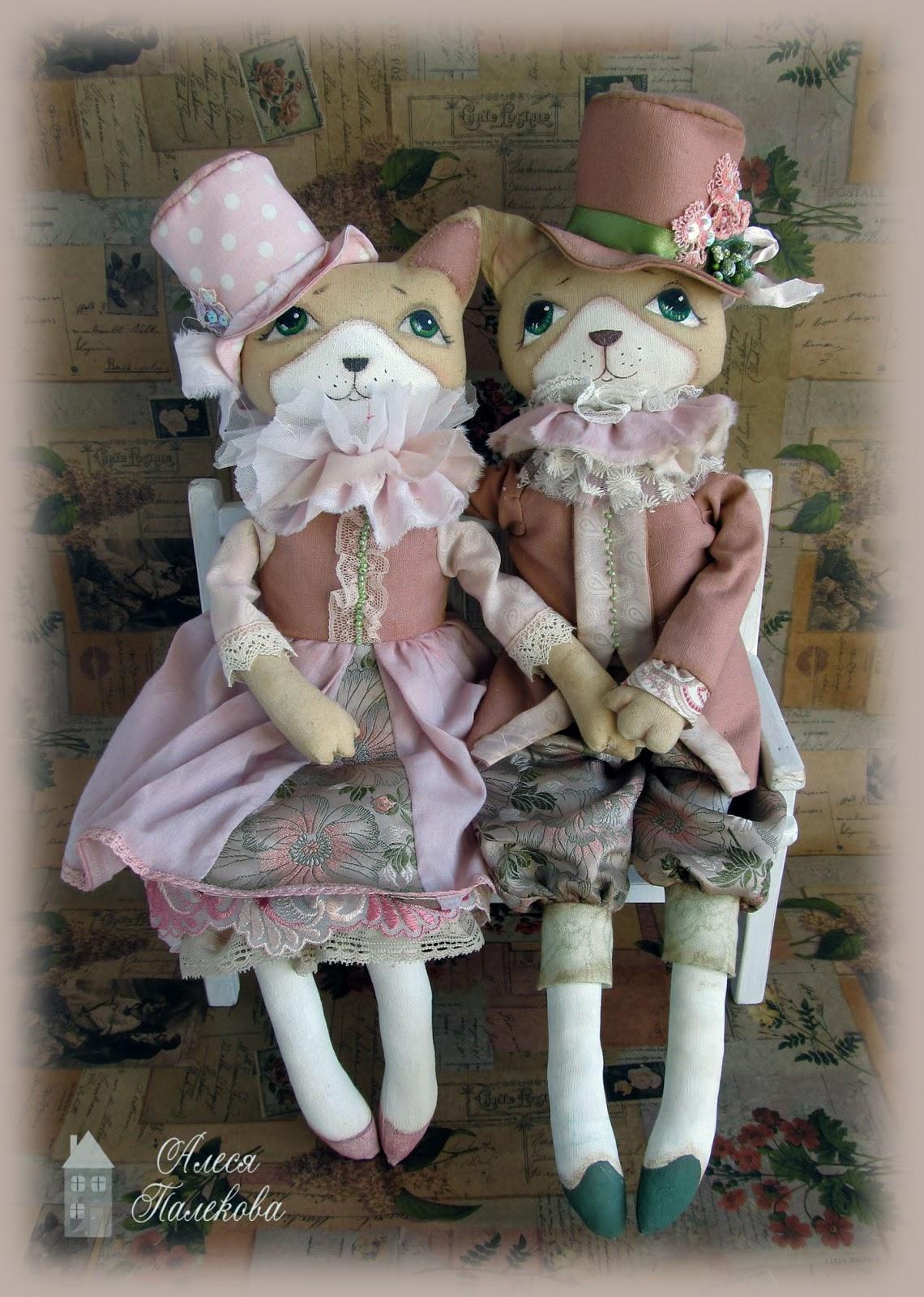 коты, пара, влюбленная пара, винтаж, шебби-шик, авторские коты