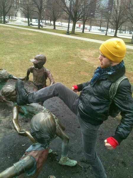 Tourist Posing Inappropriately with Statues  4