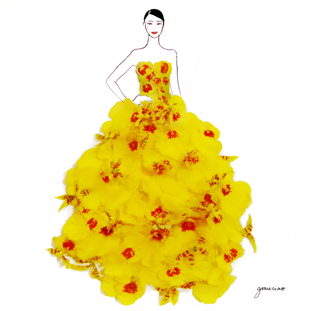 05-Dancing-Lady-Orchids-Nature-and-Grace-Ciao-Design-and-Draw-Dresses-with-Petals-www-designstack-co