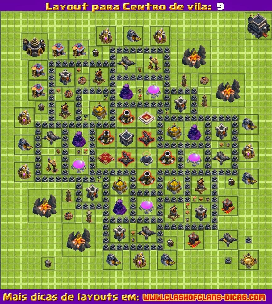 Layouts para Clash of Clans: CV 9 - Atualização 4° morteiro