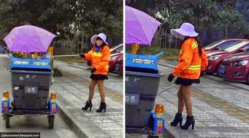 Pakai Mini Skirt dan Kasut Tumit Tinggi Wanita Ini Mungkin Tukang Sapu Terseksi di Dunia