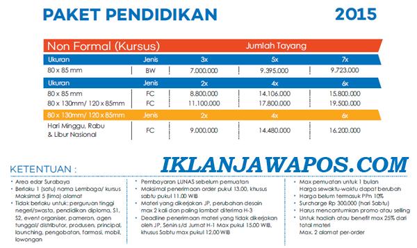 Pasang Iklan Jawa Pos Display Paket Pendidikan 2015
