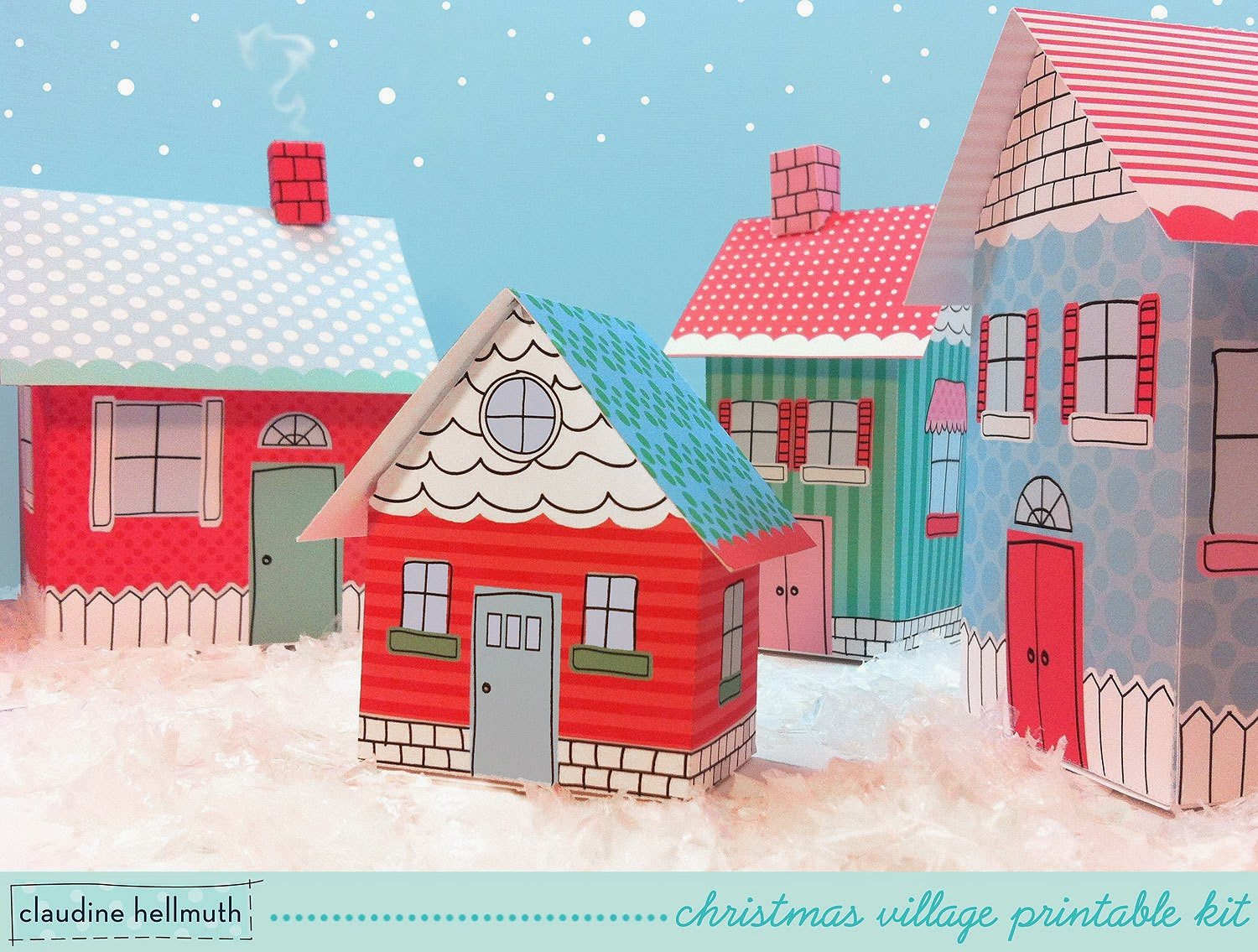 Dynamic image in printable christmas village template