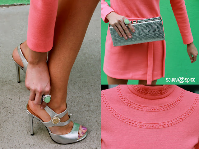 Details+by+Dale+Steliga,+Savvy+Spice+fashion+blog,+Versace+for+H&M+heels.+peach+vintage+dress,+detailed+60s+dress