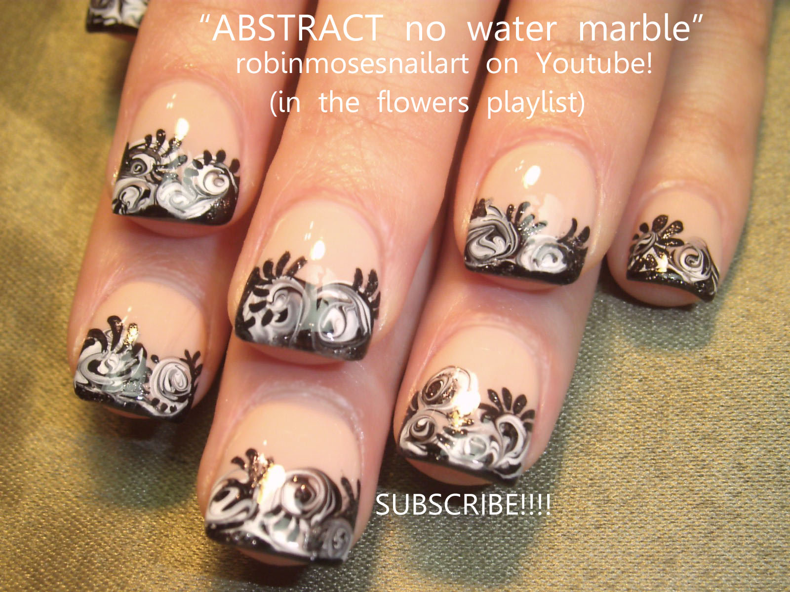 Black And White Flower Nails No Water Marbling Nail Art Lavender Tips With Pink Swirls Purple