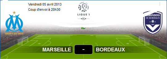 ... En Direct Marseille (OM) vs Bordeaux sur aljazeera sport Le 05-04-2013