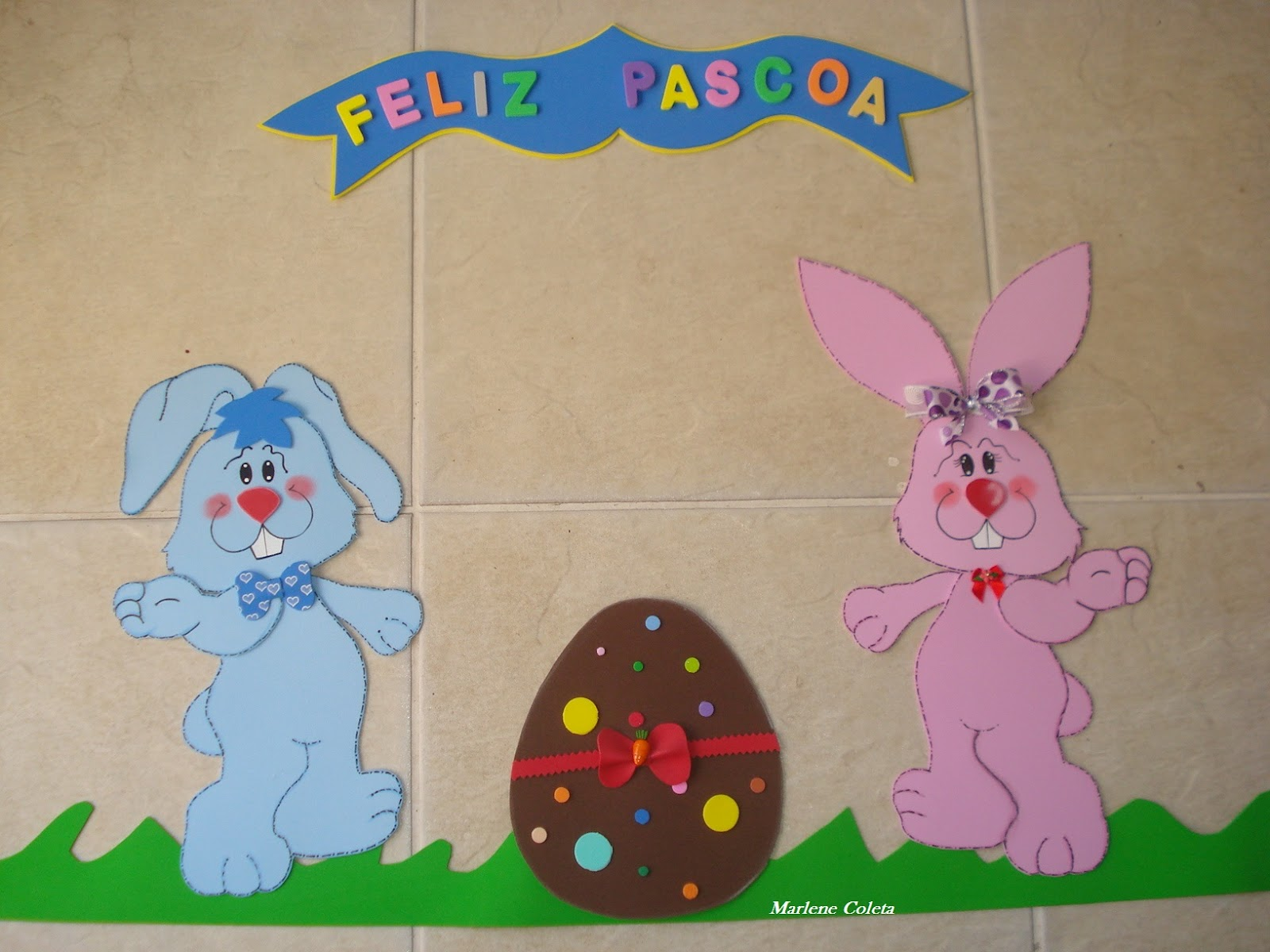 Via artesanal painel feliz pascoa for Mural de isopor e eva