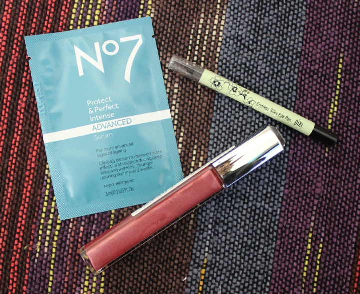 Boots No7 Protect & Perfect Advanced Serum packet sample foil Pixi Endless Silky Eye Pen in Black Noir Revlon Ultra HD Lip Lacquer in HD Rose Quartz