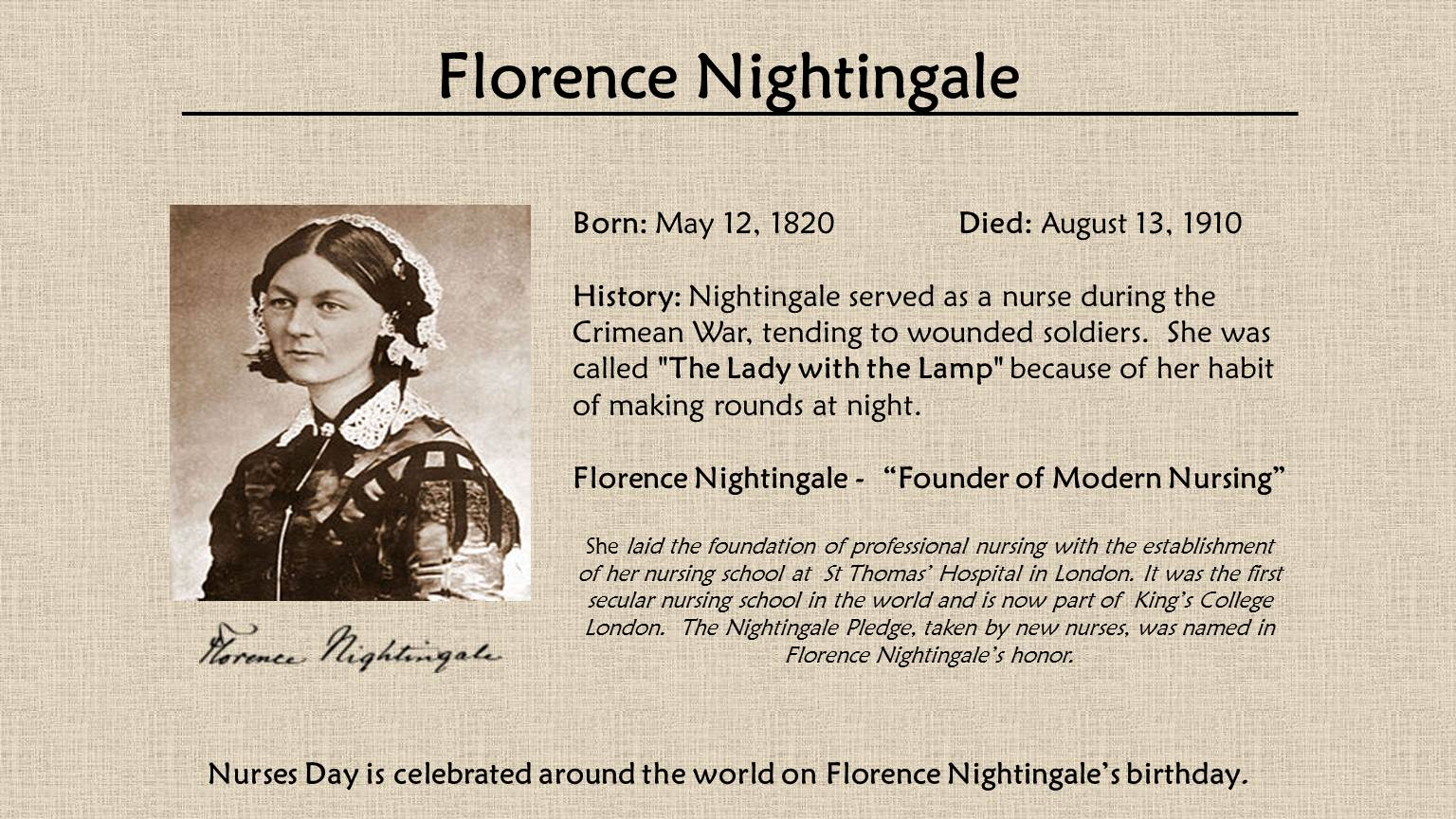the life of the lady of the lamp florence nightingale The latest tweets from florencenightingale (@florencemuseum) the florence nightingale museum celebrates the life of the lady with the lamp and her contribution to nursing open everyday 10am-5pm visit us today lambeth palace road, london.