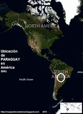 Ubicación de PARAGUAY en América, vista aérea, BING