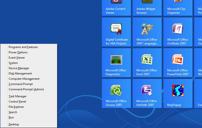 Windows 8 Basic Keyboard Shortcuts - User Menu