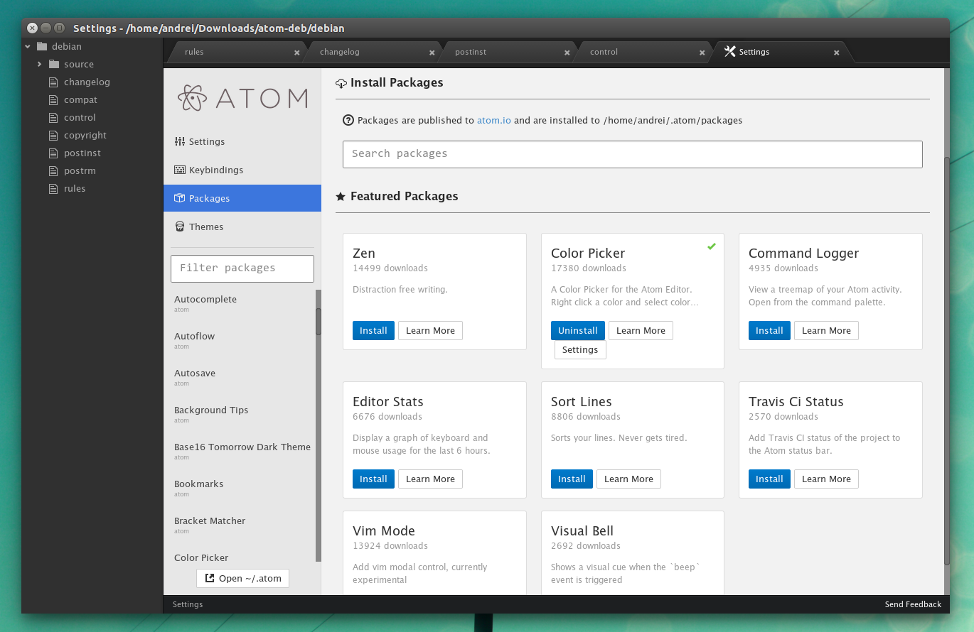 atom package manager