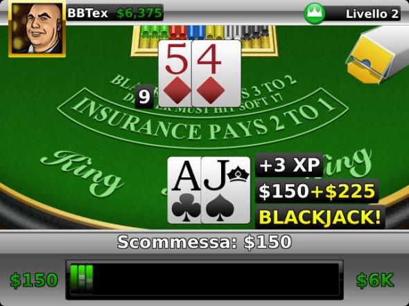 Blackjack es un juego que atrae a muchos de los casinos de todo el mundo, además de Poker tradicional. Ahora, gracias a los desarrolladores Magmic, podemos conseguir gratuitamente Blackjack King en los smartphones BlackBerry. Como sabemos, el Black Jack es un juego de azar de cartas que se lleva a cabo entre el banco representado por los casinos y los jugadores. Ganan los jugadores que hacen una mayor puntuación que la banca no superior a 21. Con Blackjack King tenemos toda la experiencia en nuestro dispositivo con la capacidad de crear nuestros avatares, desafiar los resultados de las listas de