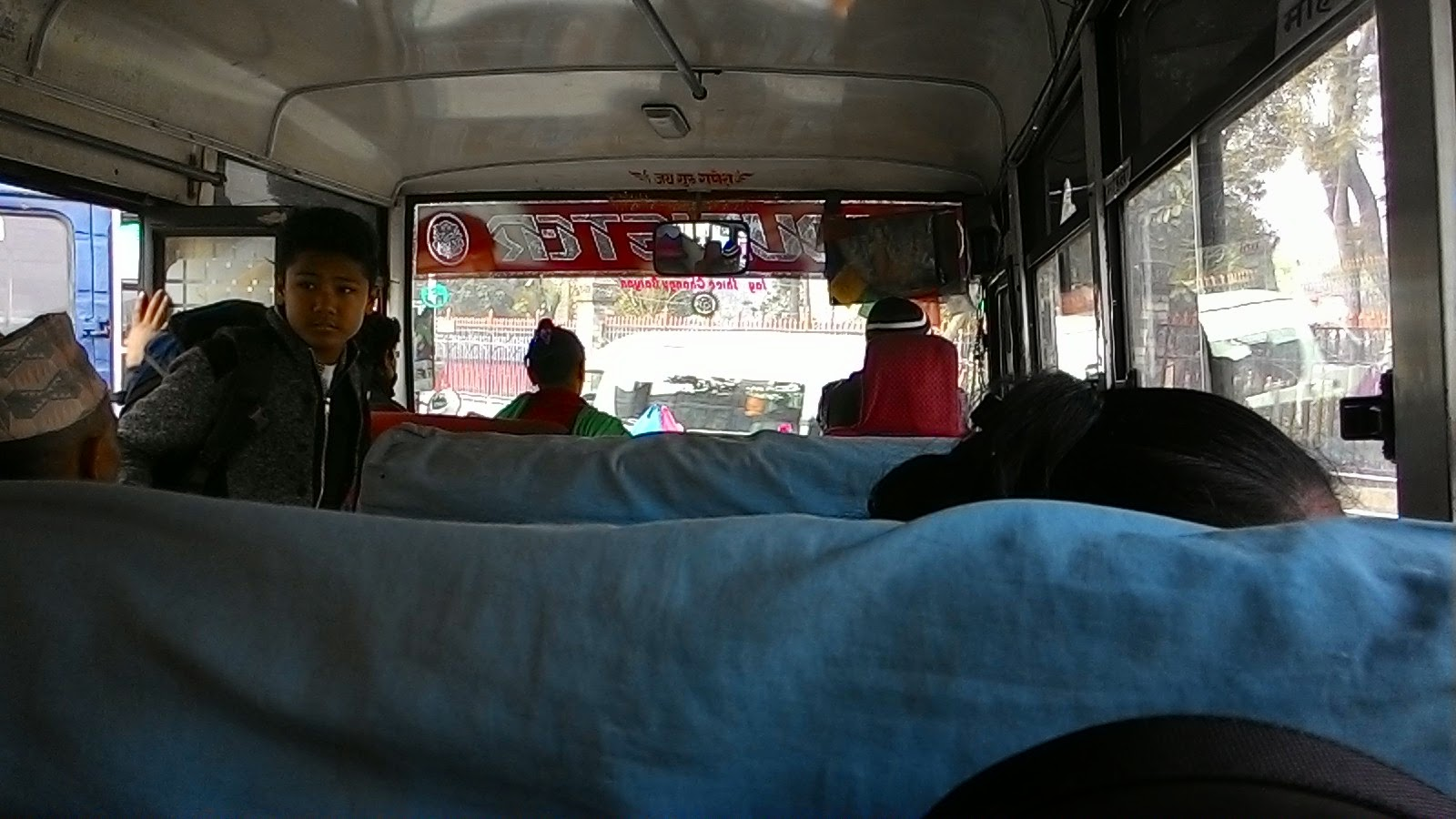 Inside local bus on the way to birganj from chitwan (sauraha)