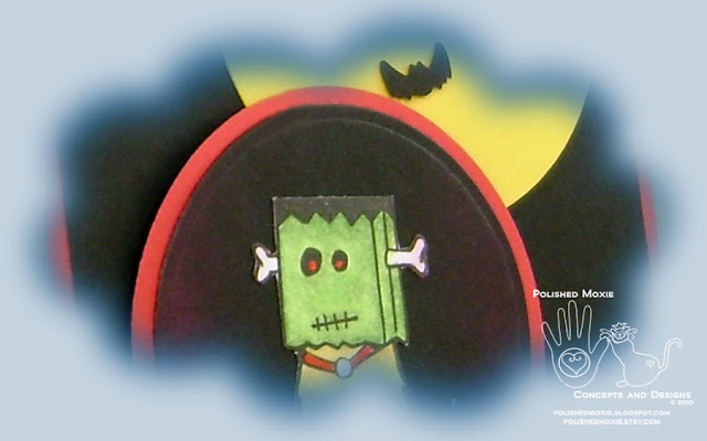 Image of a portion of my handmade Frankenstein Dog Halloween card