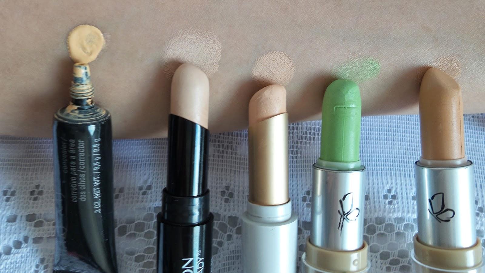 Corretivos: Mary Kay,  Revlon Photoready, Beauty Color, corretivo Vult Verde, Corretivo bege