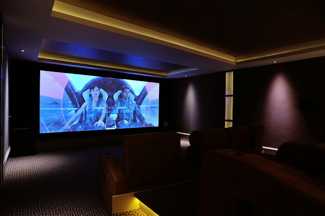 Fabric walling in the Cinema Room