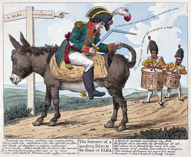 The journey of a modern hero, to the island of Elba, 1814