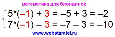 Решение системы уравнений методом сложения. Проверка решения. Подстановка полученных значений двух неизвестных в систему линейных уравнений. Системы уравнений примеры решения. Математика для блондинок.