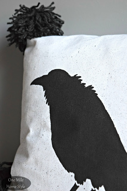 Halloween Crow Stenciled Pillow - One Mile Home Style