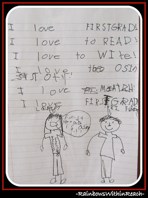 photo of: Student's Handwritten Reflections on First Grade