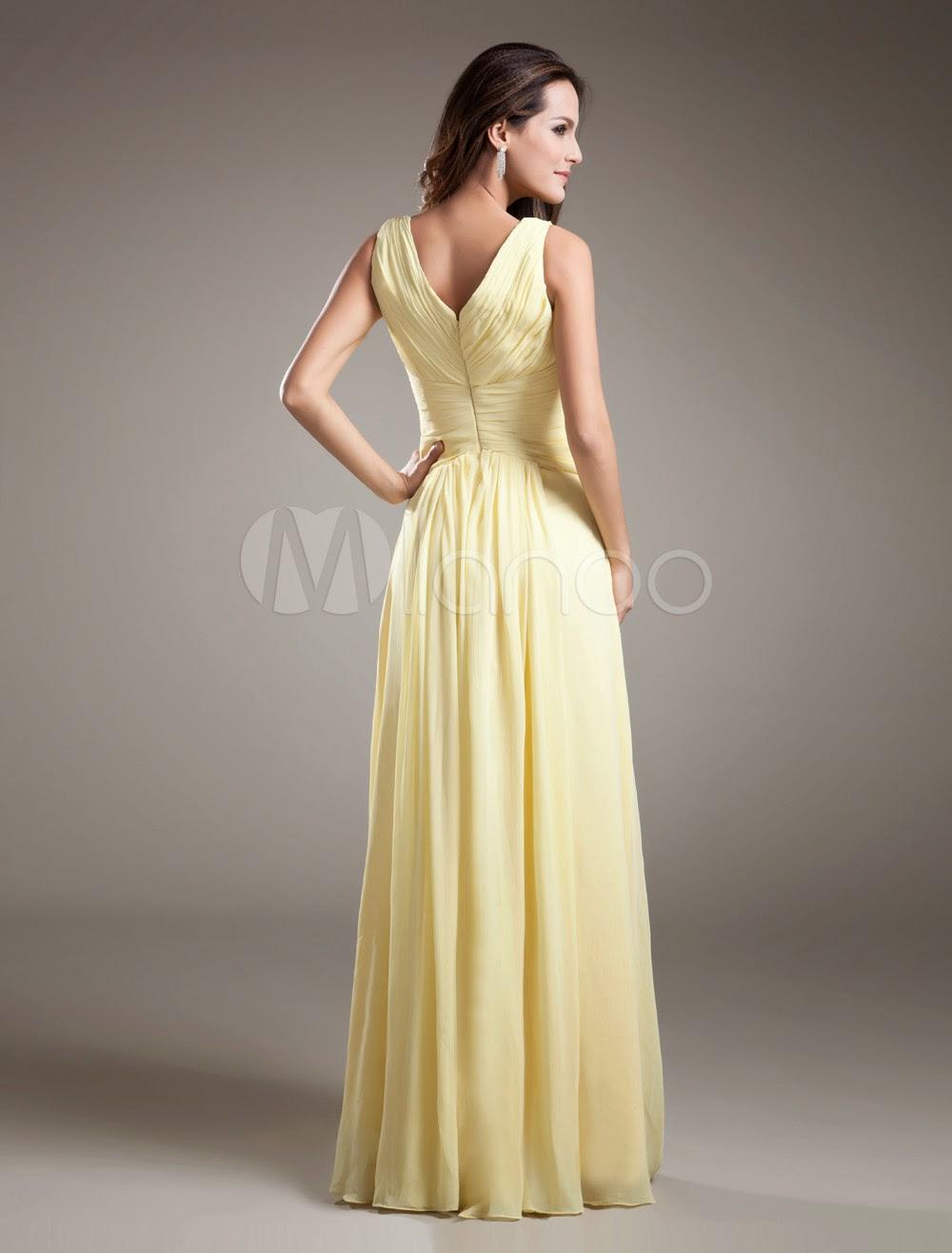 Robes sexy - Robe demoiselle d'honneur A-ligne jonquille en chiffon détail col V
