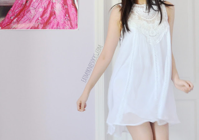 More photos of SheIn's original-design white lace/crochet-neckline shift dress, a cute, bohemian-chic dress for summer.