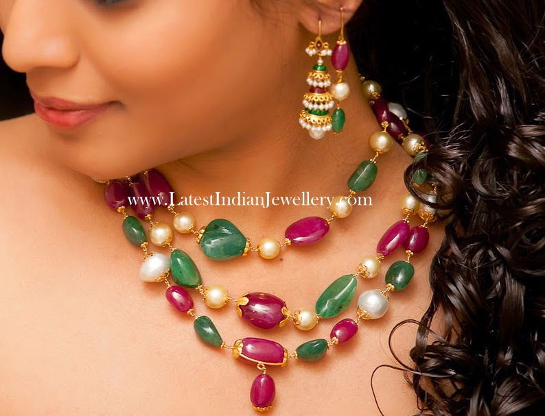 Ruby Emerald Beads Necklace