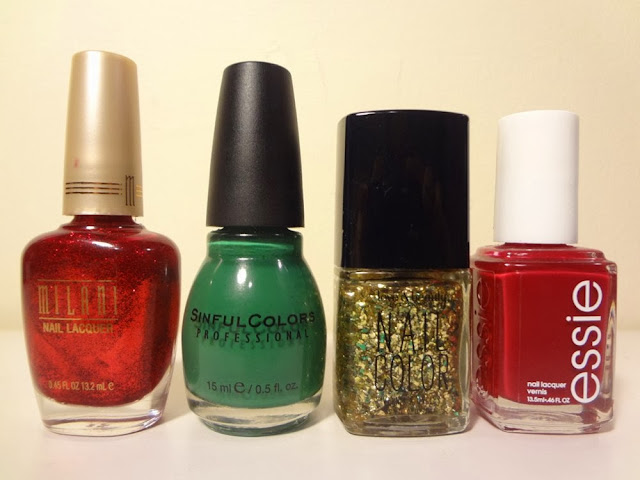 Ruby Jewels by Milani, Envy by Sinful Colors, Gold/Green by Love & Beauty, A List by Essie