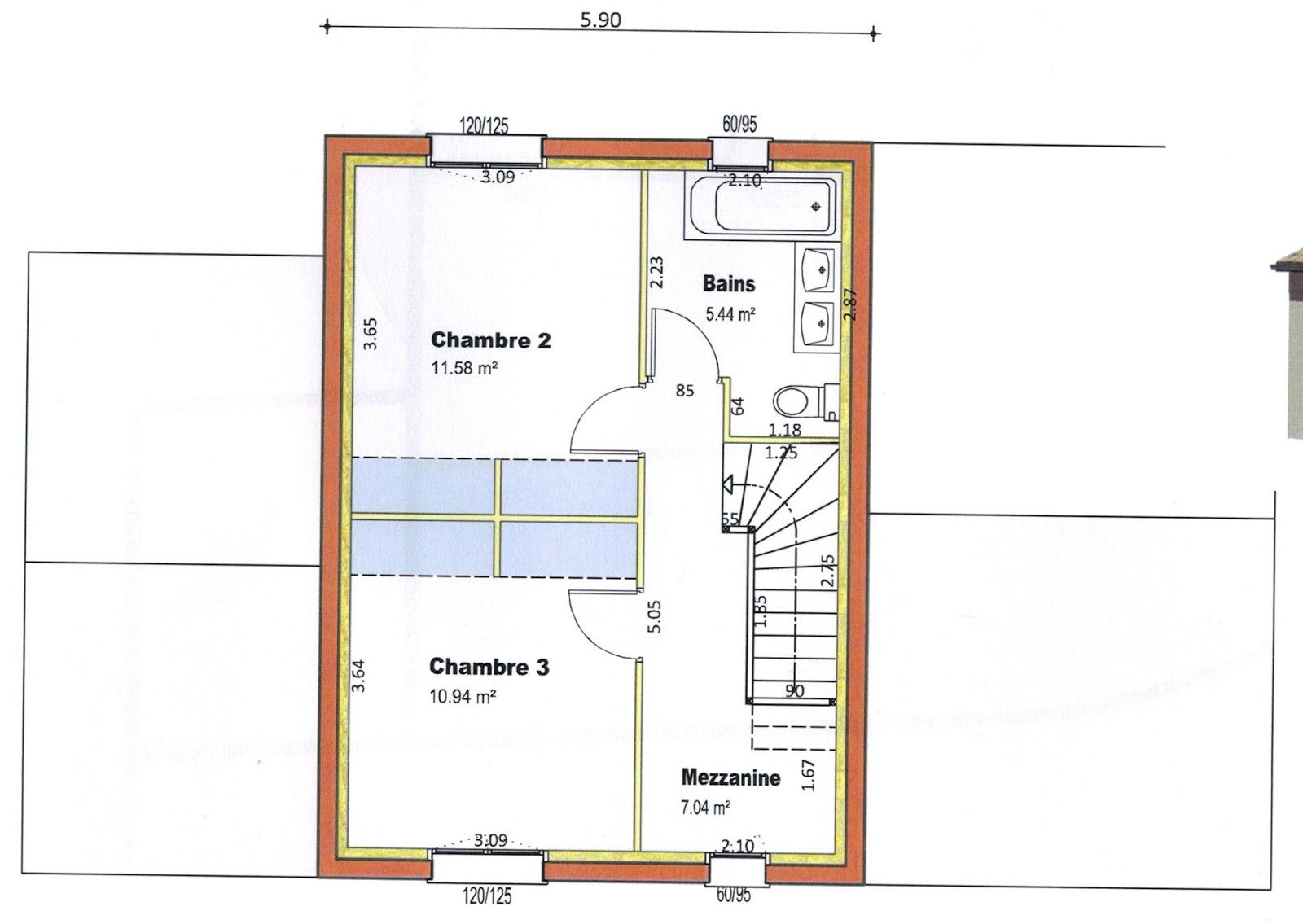 Plan maison etage 2 chambres maison camlia 3 chambres 95m for Plan maison 4 chambres etage