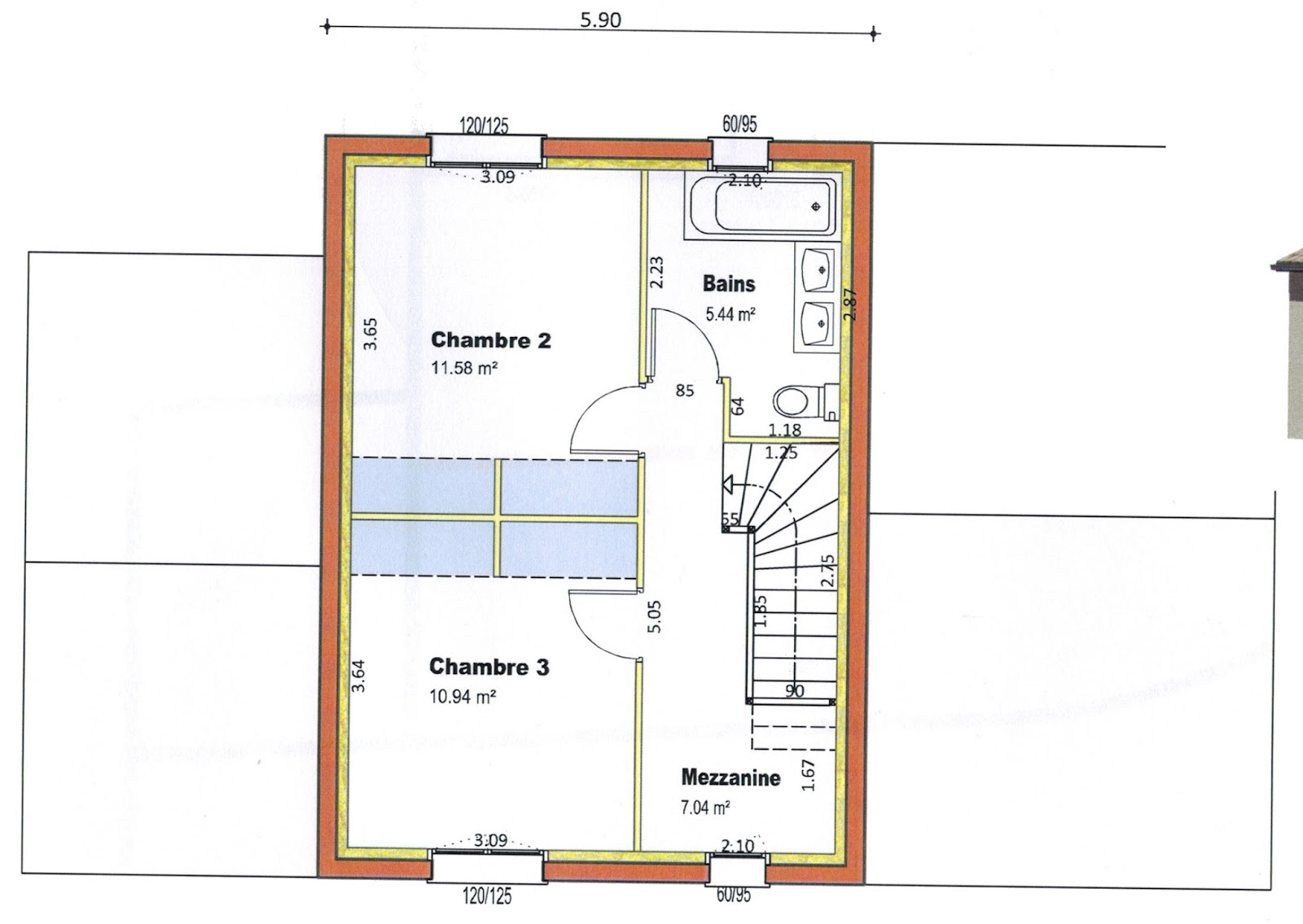 Plan maison etage 2 chambres celesteplan maison toit 1 for Plan de maison etage